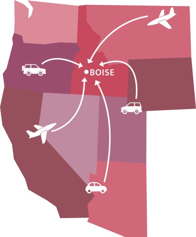 A graphic of a map of the western states showing multiple ways of traveling to Boise, via plane or car.