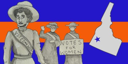 An illustration of the state of Idaho with imagery of suffragettes.