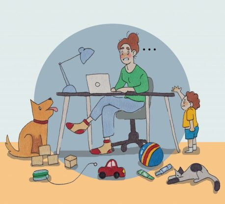 Illustration of a mother working on her laptop while her child watches