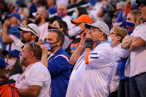 Boise State fans in the stands at Albertsons Stadium.