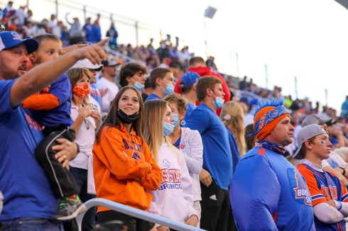 Boise State fans at home opener game on Sept. 10, 2021