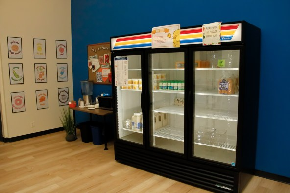Campus Food Pantry refrigerator, located in the Campus School building at Boise State.