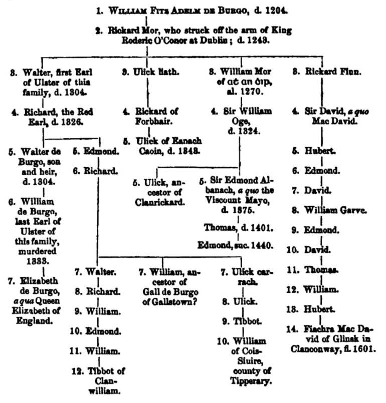 Family tree depiction of the descendants of William Fitz Adelm de Burgo (died 1204); published in The Journal of the Royal Society of Antiquaries of Ireland (Vol. III, New Series, 1861).