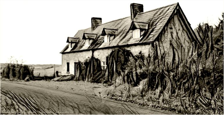 "Derrykintone cottage in county Tyrone, home of our third great-grandfather in his elder years; to illustrate the home page of Arborealis, ""Family and Local History Studies."""
