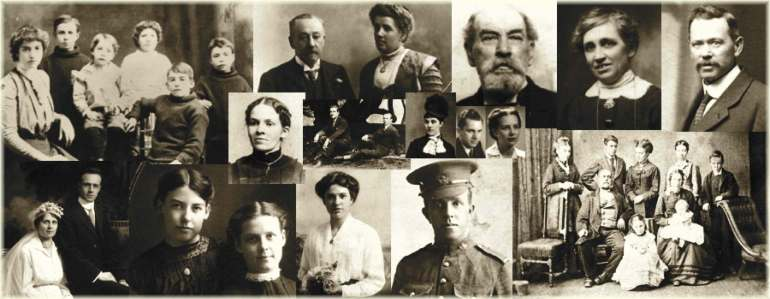 Family history research interests represented by a collage of photographs of our ancestors.