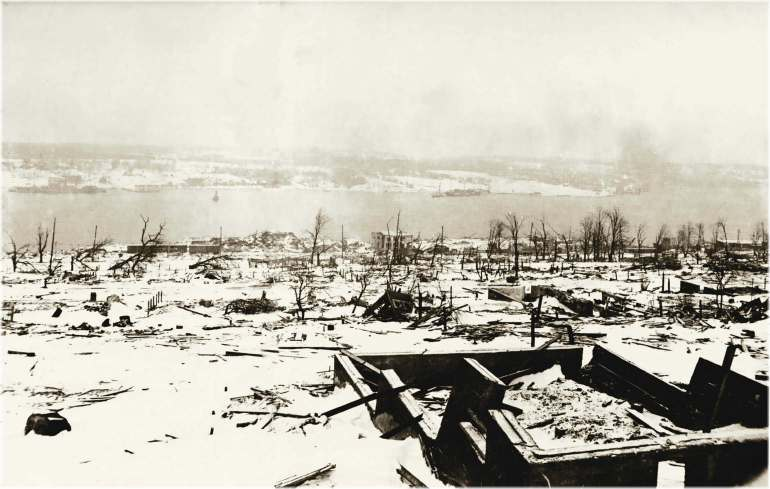View across the devastated neighbourhood of Richmond in Halifax, Nova Scotia after the explosion of 6th December 1917.