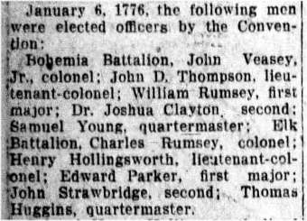 Historical article from The Evening Journal (Wilmington, Delaware), citing the appointment of officers by the Convention in January, 1776, including Thomas Huggins to the post of quartermaster.