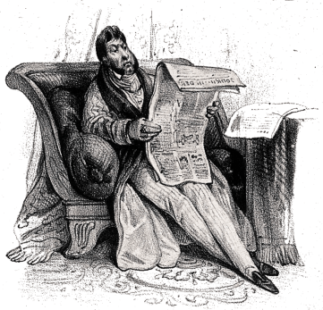 A man is sitting on a sofa, reading a newspaper. Illustration for this page, transcripts from the Armagh Guardian, 3rd December 1844.