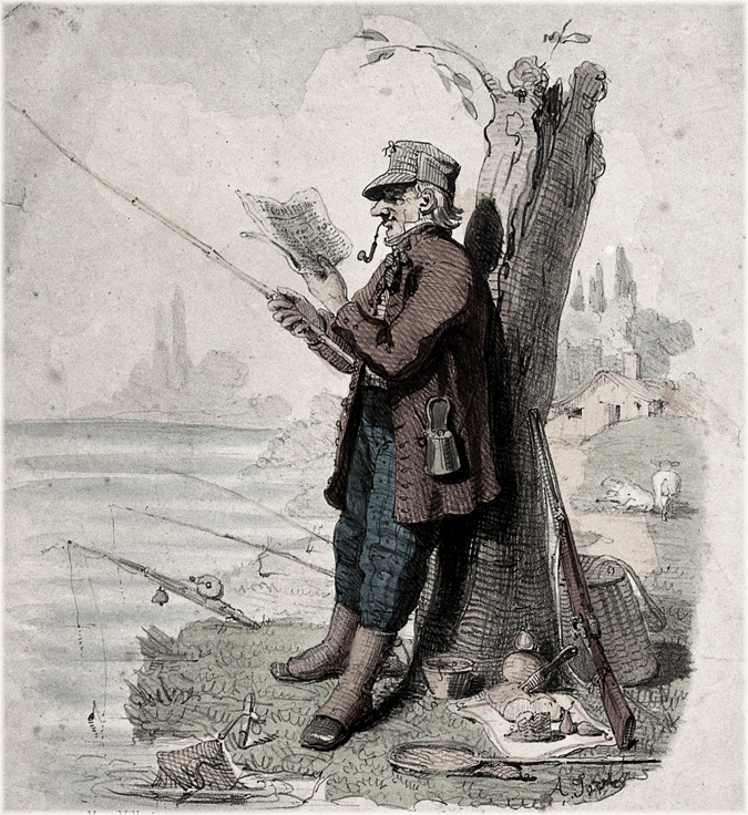 A landlord, while fishing, reads property adverts in the newspaper. Illustration for transcripts from the Armagh Guardian, 10th December 1844.