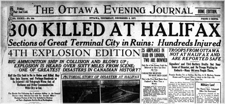 Headline of The Ottawa Evening Journal: 1300 Killed at Halifax. Article details the news about the Halifax Explosion, 6th December 1917.