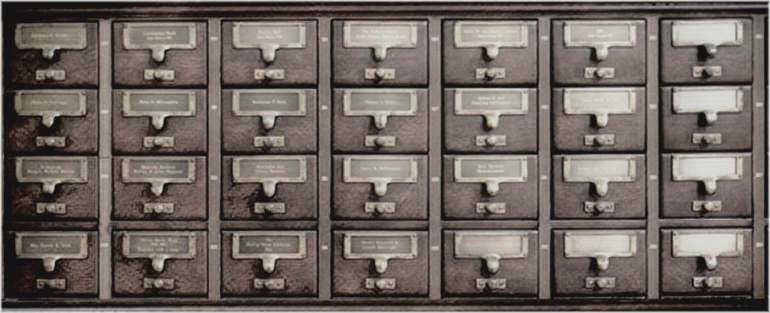 """Old style card catalogue cabinet, to illustrate the """"Index to blog articles, in reverse chronological order"""" page."""