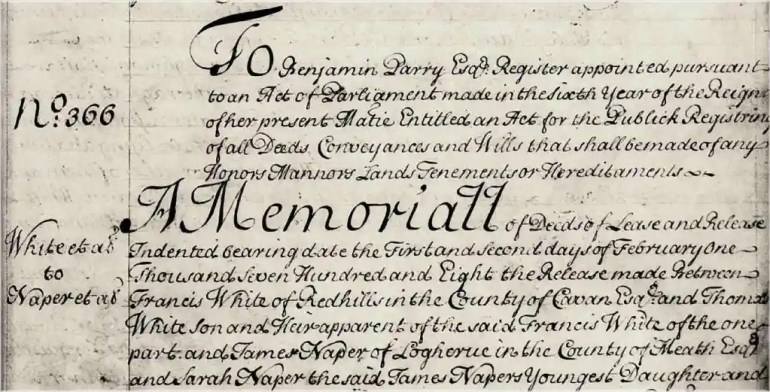 Image of portion of Memorial no. 2-179-366, White to Naper, dated 1st Feb. 1708.
