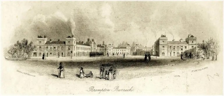 Drawing of Brompton Barracks in Chatham in 1841; one of the barracks in the town of Chatham where John Burke worked as regimental tailor of the 39th Regiment from 1825 to 1839.