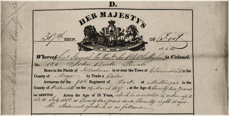 Top of Regimental Board form for John Burke, 39th Regiment, his British Army service record.
