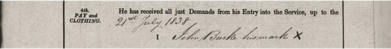 John Burke, 39th Regiment, British Army: Service Record: his mark (in lieu of a signature).