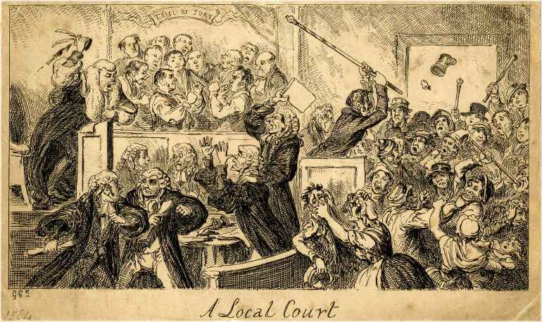"""Title of drawing: A Local Court (1832), depicting magistrates, jury members, and people in attendance in an uproar; to illustrate the blog article entitled, """"for the considerations therein mentioned."""""""