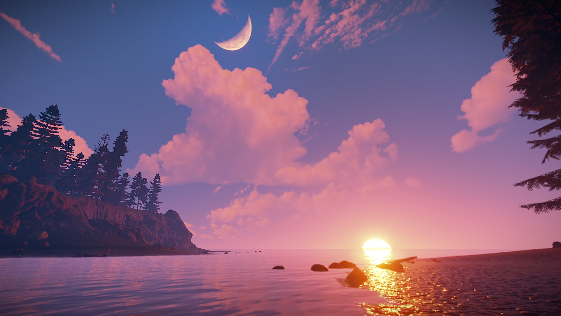 in-game screenshot of a sunset in Rust.