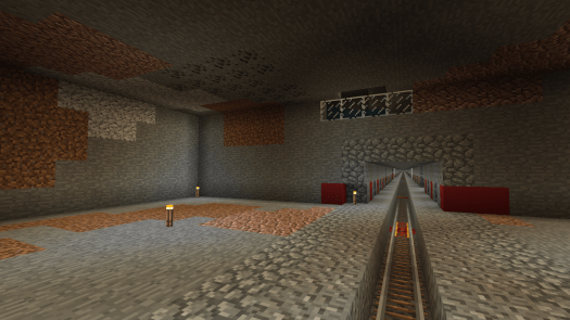 Screenshot from the game Minecraft, depicting an unbuilt subway station space