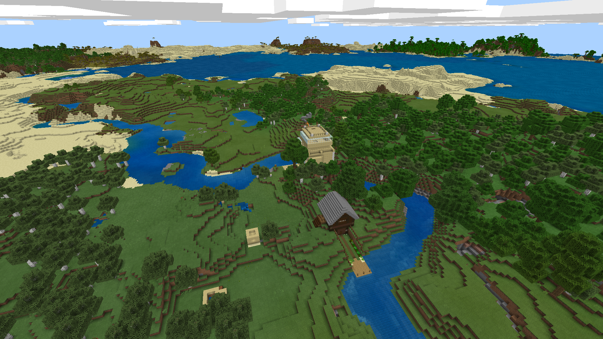 Screenshot from the game Minecraft, depicting a mostly empty landscape with a few buildings here and there.