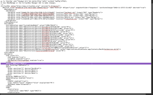 Screenshot of an xml document with one line highlighted in purple.