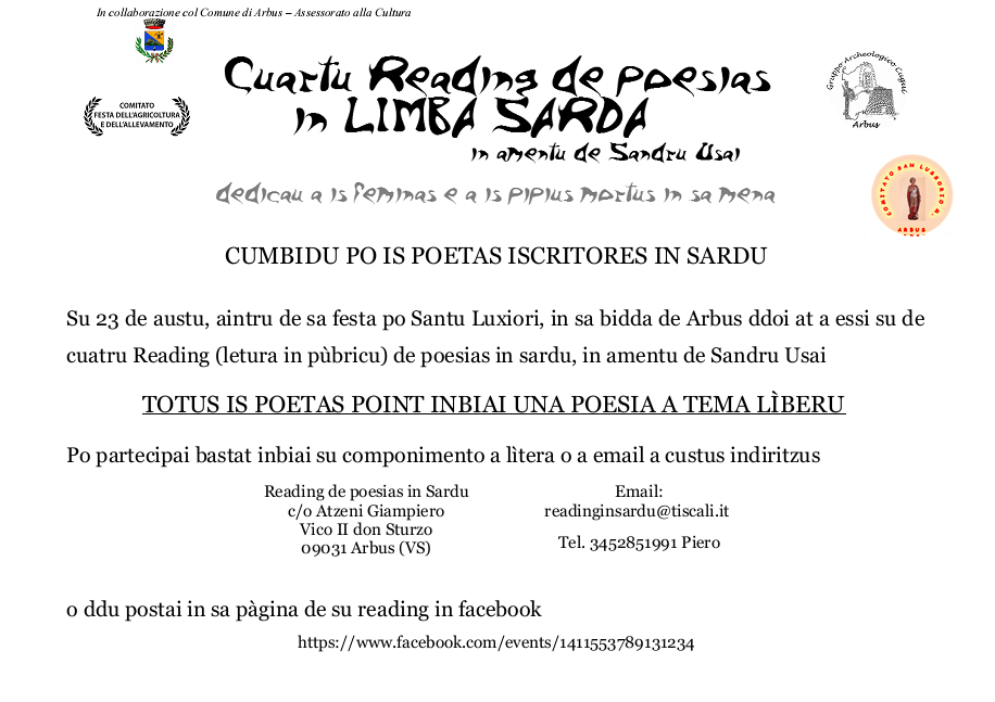 Cuartu reading de poesias in limba sarda