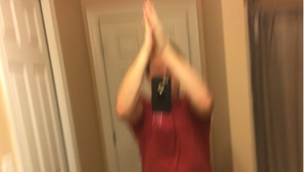 The aim is to take a picture while high-fiving yourself CREDIT TWITTERSETH SCHNEIDER