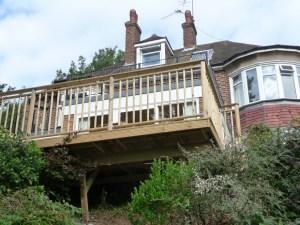 Decking platform in Findon, West Sussex