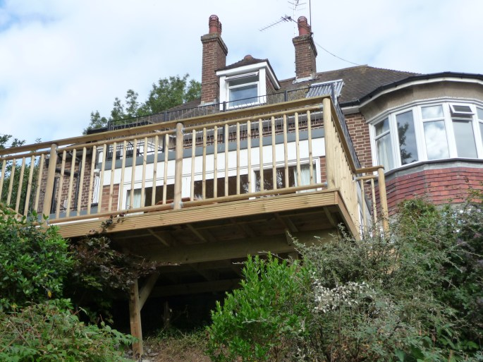 Decking platform in Findon, West Sussex