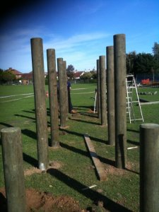 The bare bones of a timber play structure with 3 access points; Just add imagination...