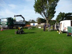 playground equipment being delivered