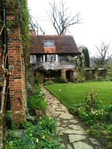 Vann House, Bargate stone pergola, clematis