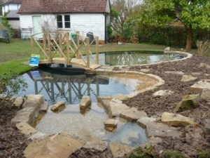 The pond completed and now just needing to settle in and the filters to begin their work