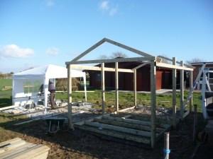 Shelter frame during construction