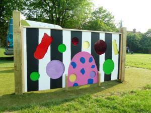 Coloured sensory playground panel designed by pupils