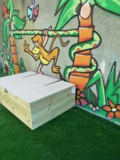 Wooden storage box in children's playground