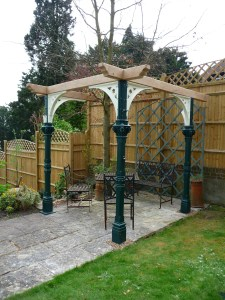Reclaimed pillars from the historic West Pier in Brighton are given a new lease of life as a unique garden pergola
