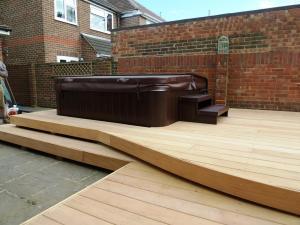 Arbworx signature 'waveform' deck in Garapa hardwood