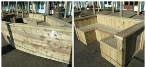 Softwood seating and boat