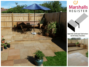 Fairstone paving, custom built seating and planting