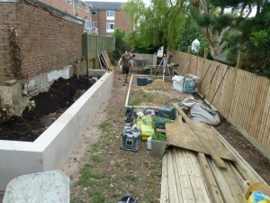 First in were the planters and close board fencing