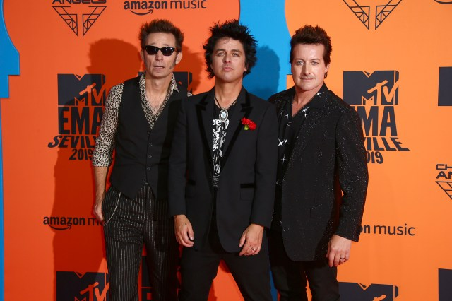 Billie Joe Armstrong, Tre Cool y Mike Dirnt de Green Day en los MTV EMA 2019 en Sevilla