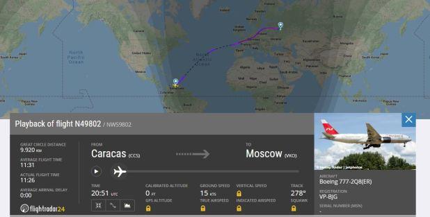 El avión despegó por la tarde del miércoles y arribó el jueves a Moscú (Flight Radar 24)