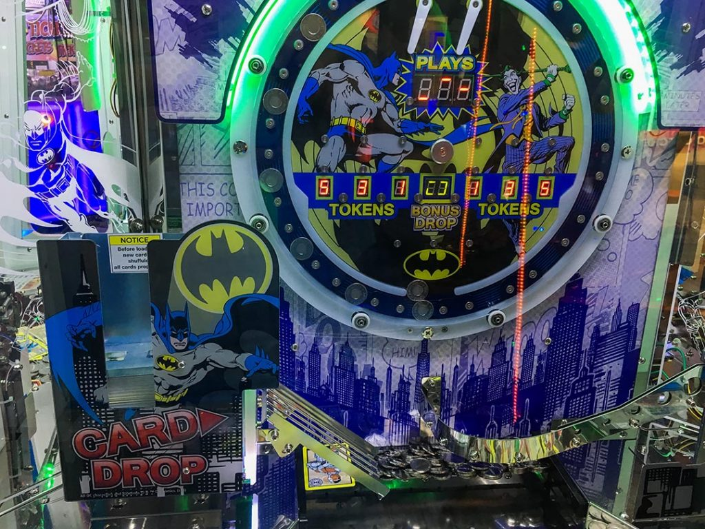 Image of coin ramp and play area on the DC coin pusher arcade game