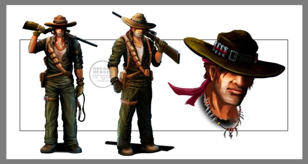 """Concept art for one of the in-game characters. Has a """"Crocodile Dundee"""" vibe to him"""