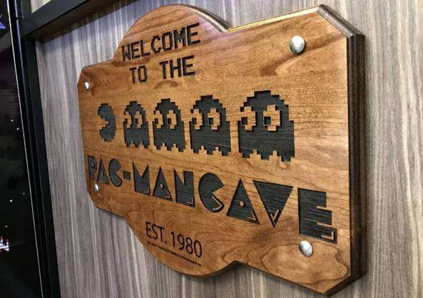Pac-mancave wooden plaque