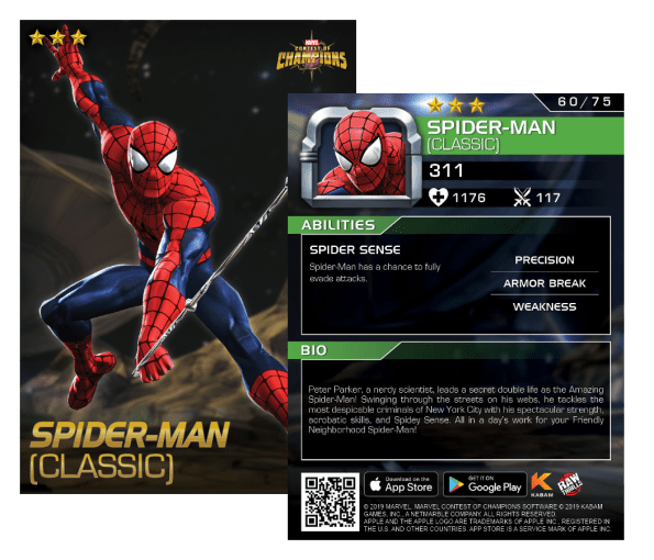 Spider-man Classic, Marvel: Contest of Champions Arcade card