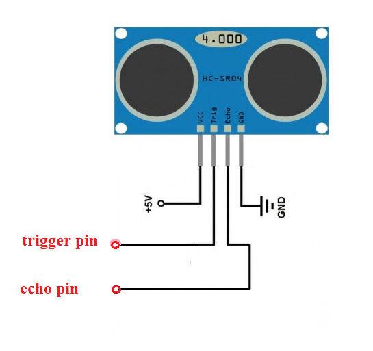 Схема подключения ультразвукового датчика расстояния  HC-SR04