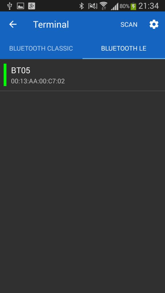Наше устройство на экране поиска в Serial Bluetooth Terminal