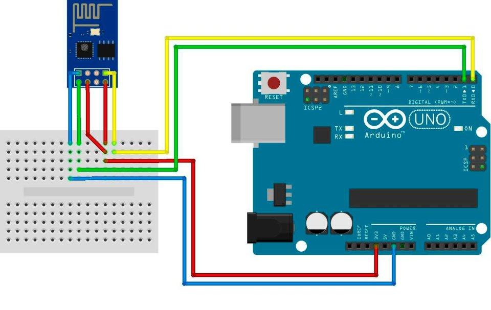Принципиальная схема подключения модуля esp-01