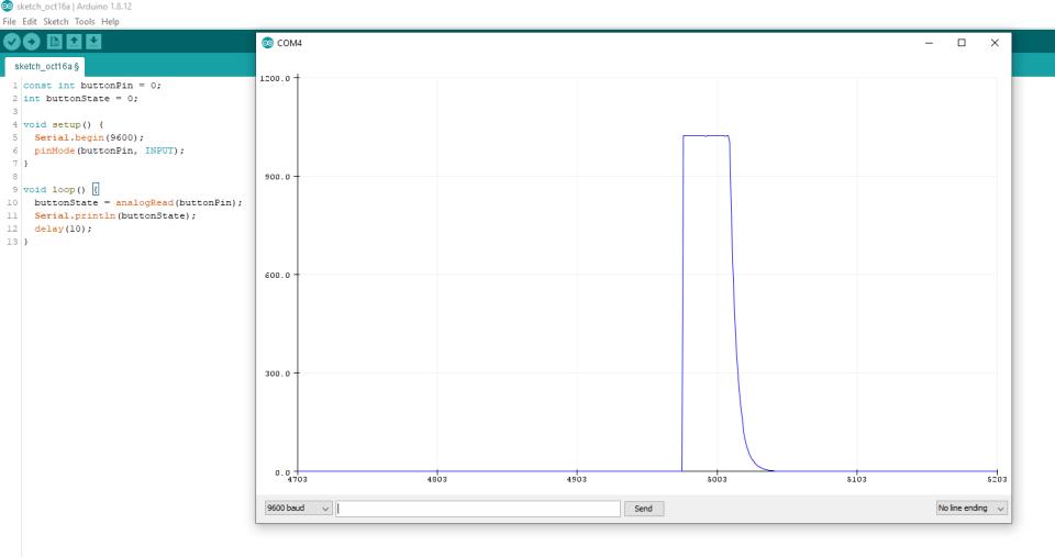 График нажатия кнопки через конденсатор